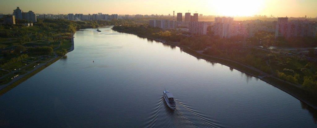 Братеевский парк, набережная,  - Фото с квадрокоптера