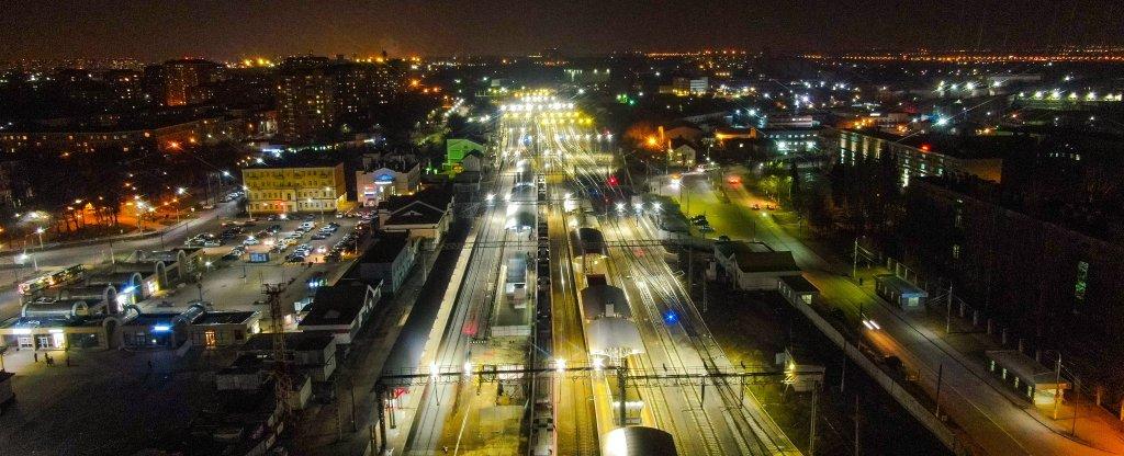 Ночной вокзал Подольска,  - Фото с квадрокоптера