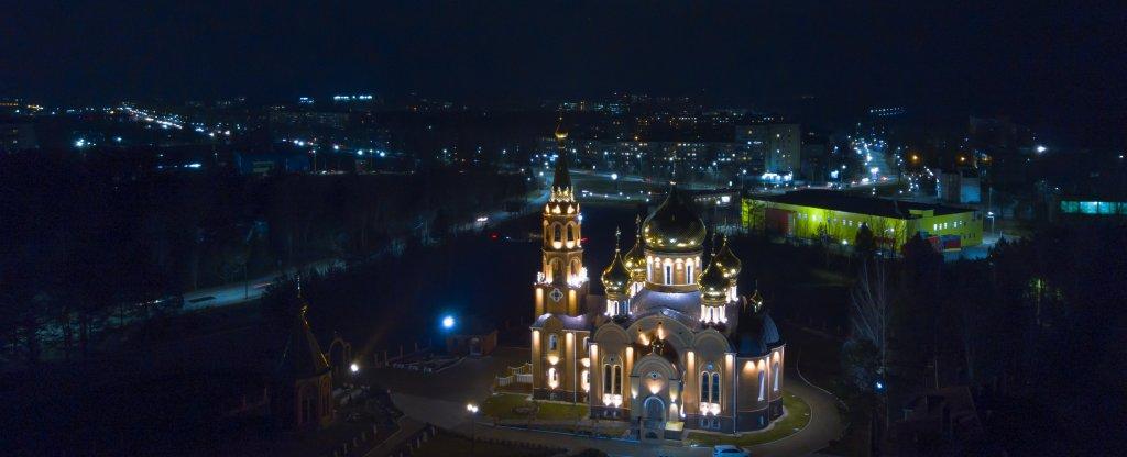 Вечерний храм Георгия Победоносца, Чайковский - Фото с квадрокоптера