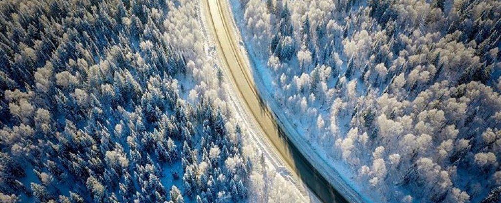 Зимняя дорога,  - Фото с квадрокоптера