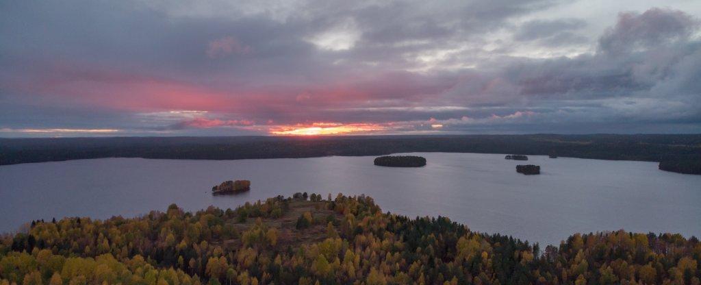 Закат на озере, Карелия, Костомукша - Фото с квадрокоптера