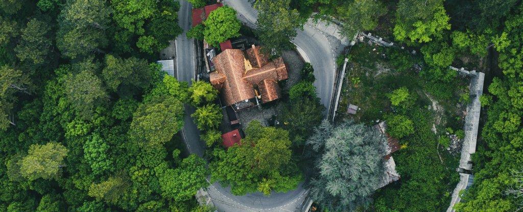 Ресторан у водопада Учан-Су, Ялта - Фото с квадрокоптера