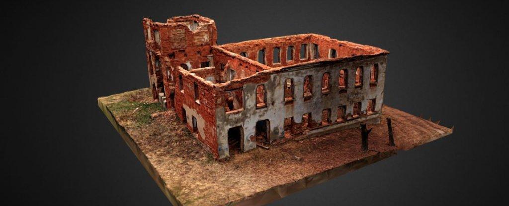 3D модель руин старинного здания,  - Фото с квадрокоптера