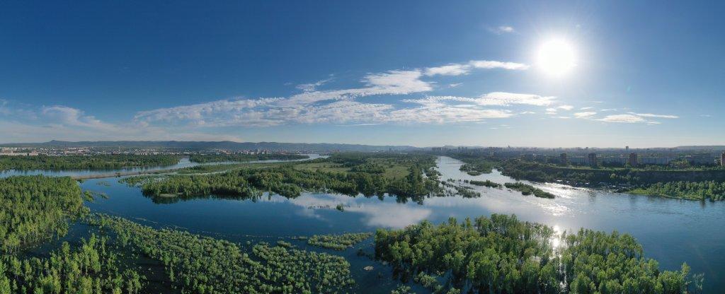 Панорама половодья на Енисее, Красноярск - Фото с квадрокоптера