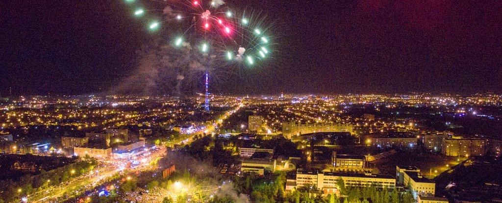 Салют на День города (Тамбов), Тамбов - Фото с квадрокоптера