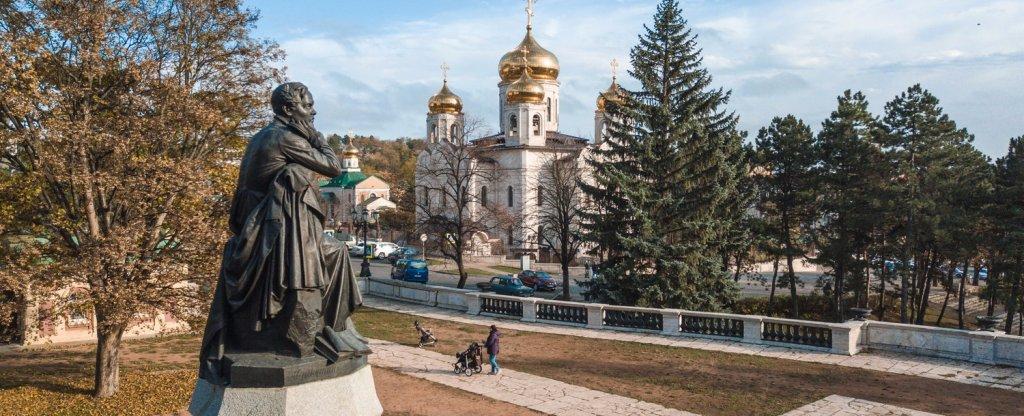 Памятник М.Ю. Лермонтову, г. Пятигорск, Пятигорск - Фото с квадрокоптера