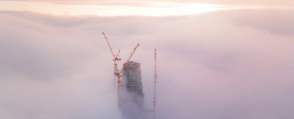 В тумане, Санкт-Петербург - Фото с квадрокоптера