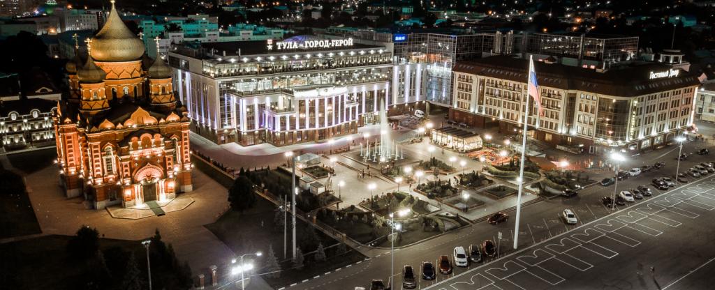 Ночная Тула. Вид на центральную площадь., Тула - Фото с квадрокоптера