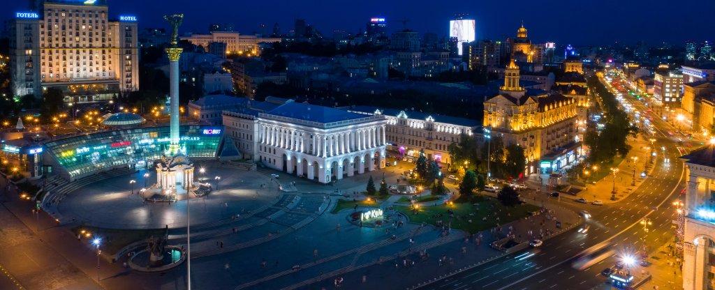 Вечерний Крещатик.,  - Фото с квадрокоптера