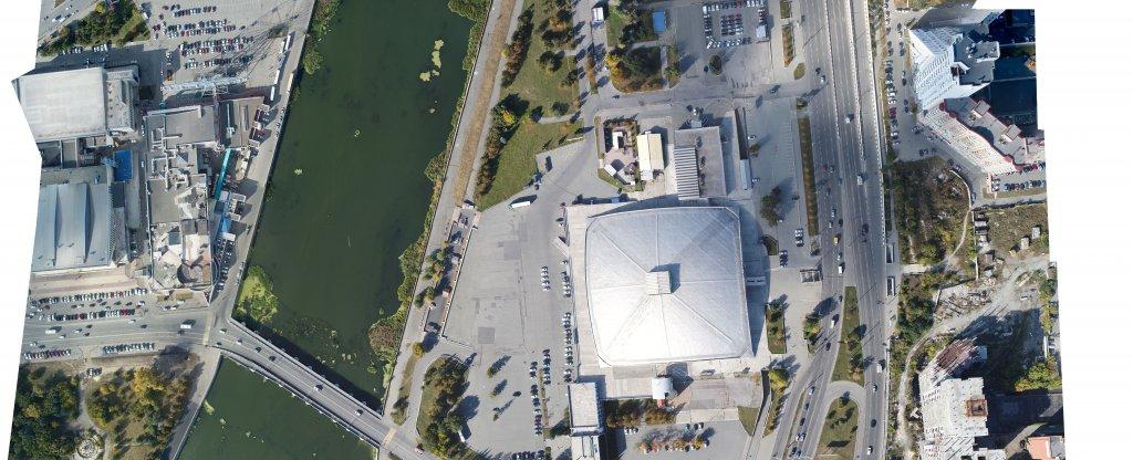 Картография местности для заказчика (Торговый центр, Усадьба Рябининых, река Миасс),  - Фото с квадрокоптера