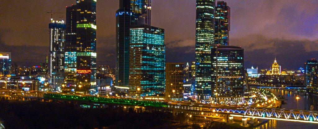 Москва-сити зимним вечером, Москва - Фото с квадрокоптера