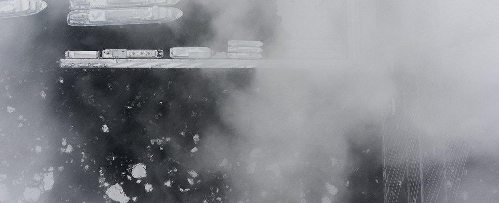 Ледостав на Неве,  - Фото с квадрокоптера