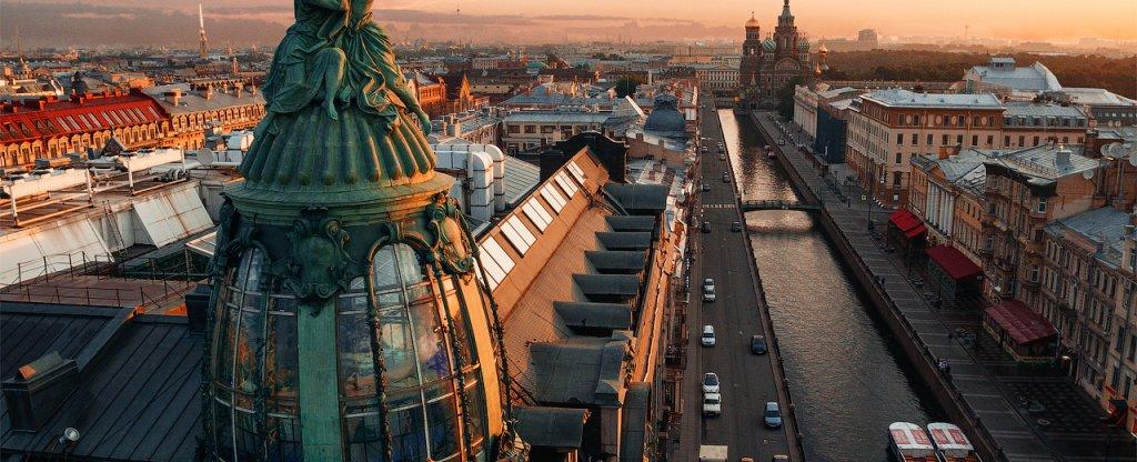 Рассвет над центром Петербурга, Санкт-Петербург - Фото с квадрокоптера