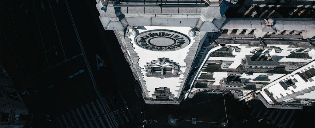Над площадью Льва Толстого,  - Фото с квадрокоптера