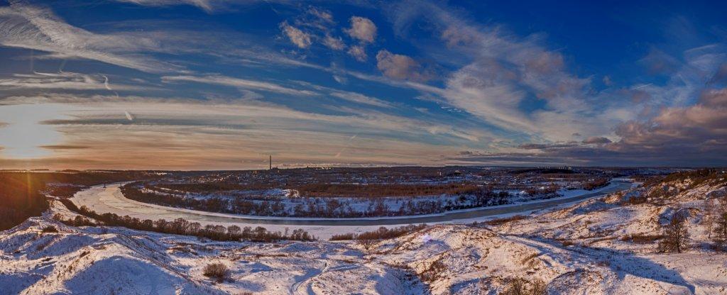 Панорама зимнего города, Алексин - Фото с квадрокоптера