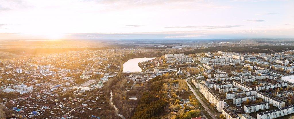 Панорама осеннего города, Каменск-Уральский - Фото с квадрокоптера