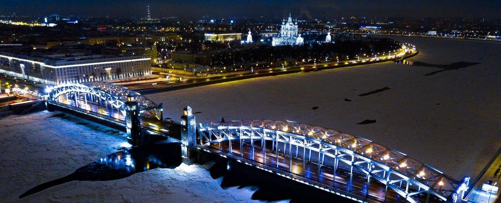 Большеохтинский мост, Санкт-Петербург,  - Фото с квадрокоптера