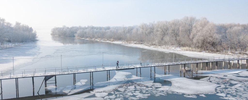 Морозный день на Дону, Багаевская - Фото с квадрокоптера