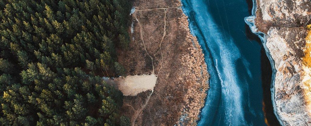 Лед на реке,  - Фото с квадрокоптера