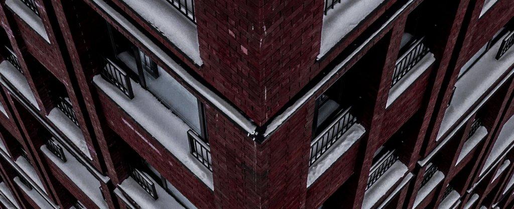 Кирпичный фосад,  - Фото с квадрокоптера