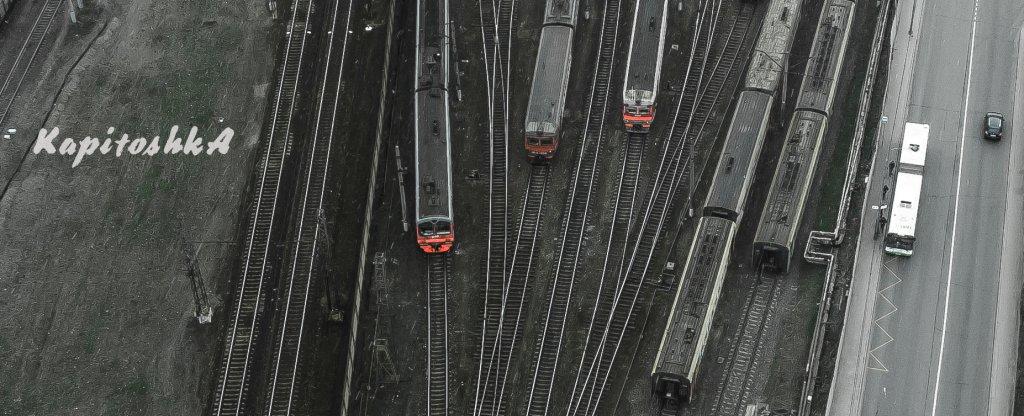 Москва район Печатники железнодорожное депо,  - Фото с квадрокоптера