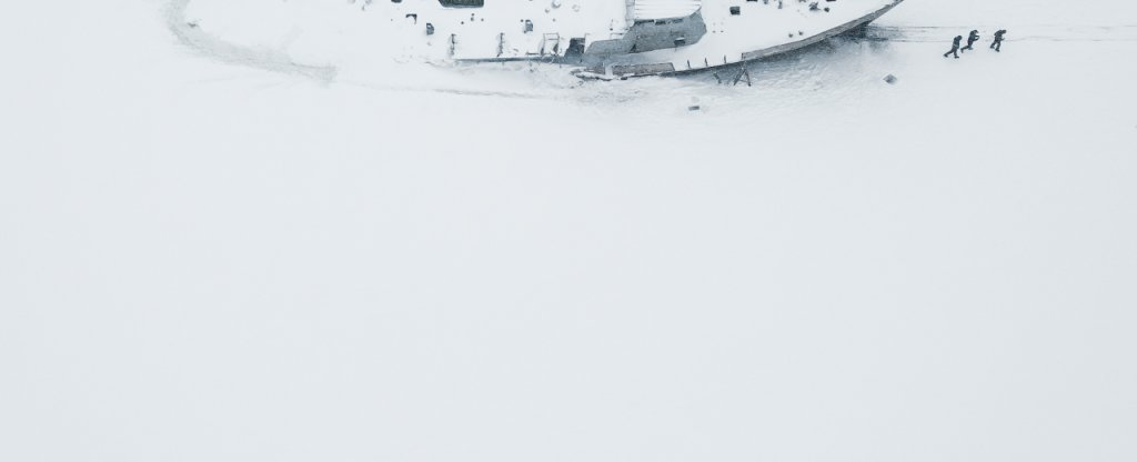 Путники на снегу,  - Фото с квадрокоптера
