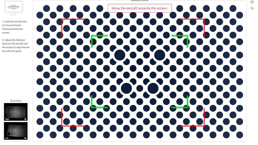 Процесс калибровки Vision Sensors у квадрокоптеров DJI