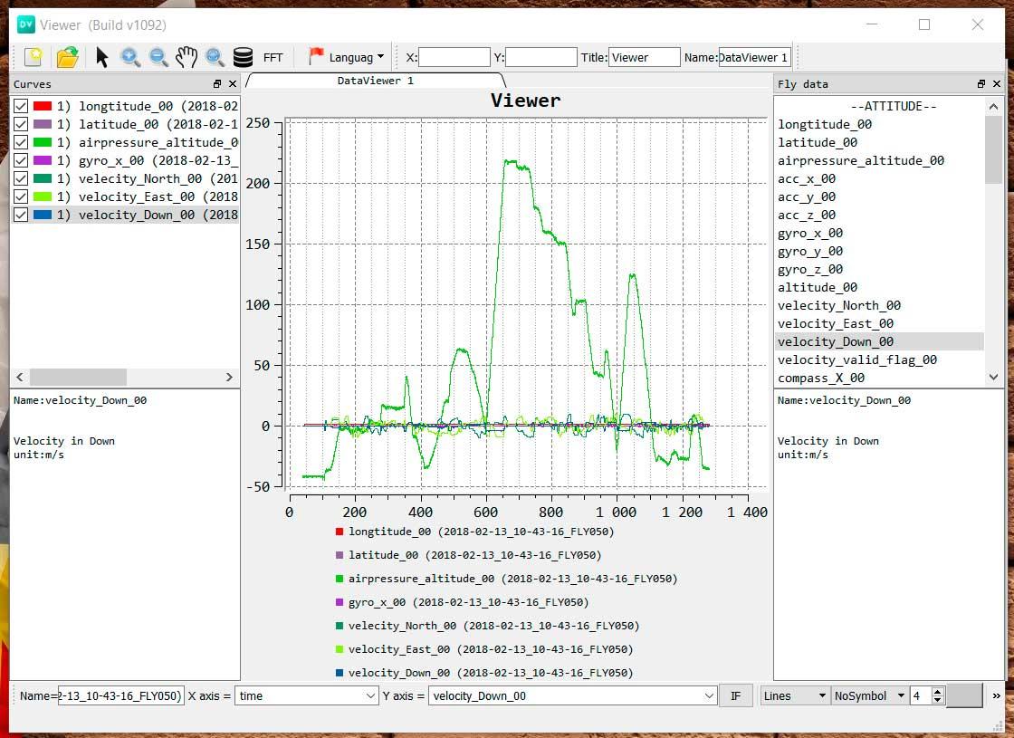 Просмотр лога полетов DJI с помощью Data viewer